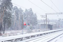 Rail road winter. Scary landscape with rail road in winter royalty free stock photos