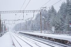 Rail road winter. Scary landscape with rail road in winter royalty free stock photo