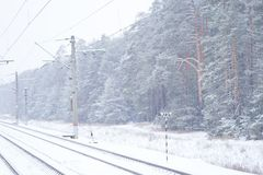 Rail road winter. Scary landscape with rail road in winter stock photo