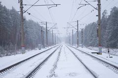 Rail road winter. Scary landscape with rail road in winter stock image