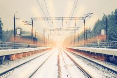 Rail road winter. Scary landscape with rail road in winter stock images