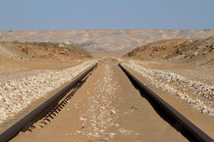 Rail route across the Sahara in Egypt Stock Photography