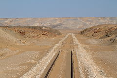 Rail route across the Sahara in Egypt Royalty Free Stock Photography