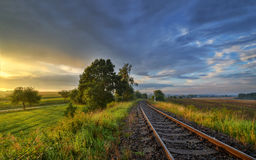 In rail. September sunset on the tracks outside the city Royalty Free Stock Photo