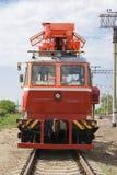 Rail service vehicle. Repair power equipment Royalty Free Stock Photo