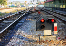Rail signaling. Light signaling for rail operation on railway junction in Thailand stock image