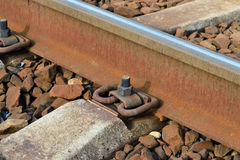 Rail and sleepers. The rail and concrete sleepers close up stock photos