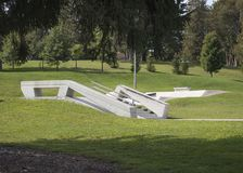 Skate Board Park Rail Slide royalty free stock photo
