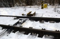 Rail in snow Stock Images