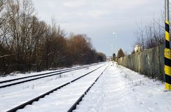 Rail in snow Royalty Free Stock Photo