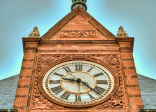 Rail station clock. Clock detail at the central railroad of New Jersey Terminal in Liberty State park royalty free stock photography