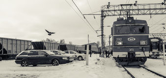 Rail station in Medvezhyegorsk, Karelia, Russia Royalty Free Stock Images