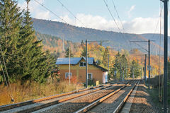 Rail station. In mountain area Royalty Free Stock Photography
