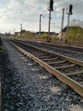 Rail. With stones, number 11, dusk royalty free stock photo