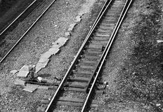 Rail switch. Old rail switch in black and white Stock Photography