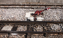 Rail switch - RAW format royalty free stock photos