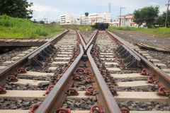 Rail switches in yard off mainline Stock Photos