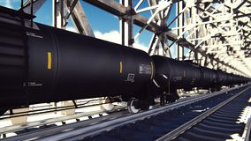 Rail tank cars with oil on the rails at sunrise. Train transportation of tankers. The container of the liquid fuel oil