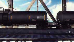 Rail tank cars with oil on the rails at sunrise. Train transportation of tankers. The container of the liquid fuel oil. Heavy industry, trade, transport stock illustration