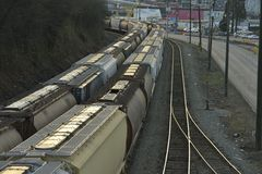 Rail Tanker Cars. Are being transported to a depot for transfer royalty free stock photos
