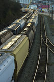 Rail Tanker Cars. Are being transported to a depot for transfer Royalty Free Stock Image