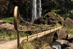 Rail to Fall. Rail showing the way to a magnificent falls in the middle of the jungle stock photos