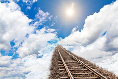 Rail to sky. Abstract photo of rails in to sky Stock Photography