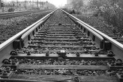 Rail Track. A black and white image of railroad tracks Stock Image