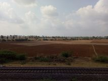 Rail Track with Agri Field Royalty Free Stock Image