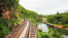 Rail Track along the cliff Royalty Free Stock Photos