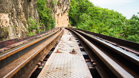 Rail Track along the cliff Royalty Free Stock Images