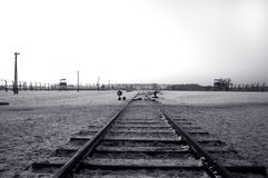 Rail track in Auschwitz / Birkenau Stock Images