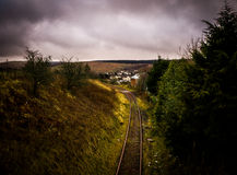 Rail Track on a cloudy day. Stock Photo