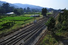 Rail track on the countryside. Rail track crossing agricultural fields on north Portugal Porto region stock images