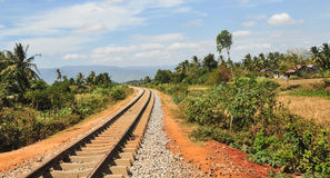 Rail track at countryside in Kep town, Cambodia Stock Photography