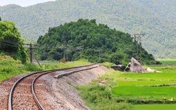 Rail track at countryside in Nha Trang, Vietnam.  Stock Photo