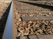 Rail track and railroad ties. Railway track and railroad ties close-up Royalty Free Stock Image