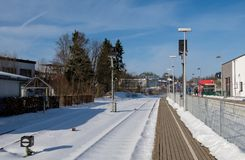 Rail track at the railway station. In the german city winterberg Stock Photo