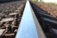 Rail track. Rail receding into the distance shot very close Stock Photo