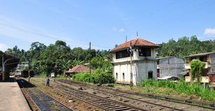 Rail track and station in Sri Lanka Royalty Free Stock Photos