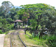 Rail track and station in Sri Lanka Stock Image