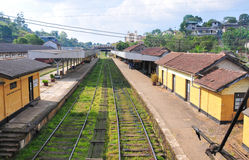 Rail track and station in Sri Lanka Royalty Free Stock Images
