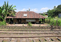 Rail track and station in Sri Lanka Stock Photos