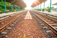 Rail track way transport at station in thailand. Rail track way transport in thailand Stock Photos