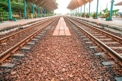 Rail track way transport at station in thailand. Rail track way transport in thailand Royalty Free Stock Image