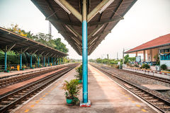 Rail track way transport at station in thailand. Rail track way transport in thailand Royalty Free Stock Photos