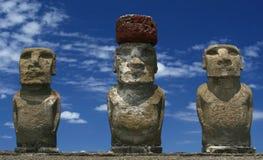 Rail_Tracks_1. Three maoi statues on Easter island Stock Photos
