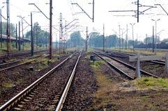 Rail tracks. By the railway station in Oswiecim, Poland Stock Photos