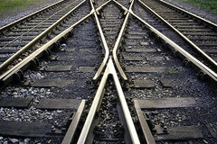 Rail tracks. The picture shows some rail tracks with a shunt in the middle royalty free stock images