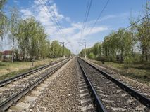 Rail tracks converging in the distance. Stock Photography
